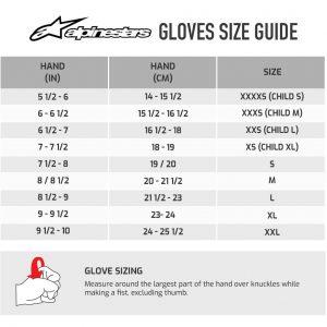 Guide des tailles des gants alpinestars